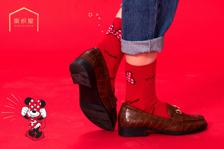 迪士尼系列棉质蝴蝶结提花吉祥短筒女袜