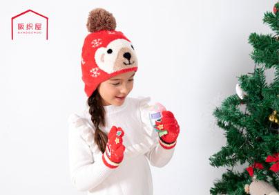 蜜绒雪花小熊提花护耳帽 / 蜜绒圣诞系列拇指贴布绣五指手套