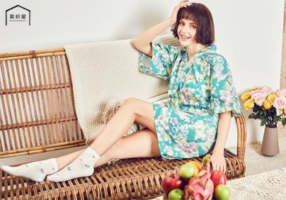 棉麻度假风印花短袖和服裙/棉麻度假风印花短袖短裤和服套装